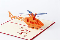 Wholesale 3 D gift card The helicopter paper carving greeting card Red cover greeting card invitation CARDS