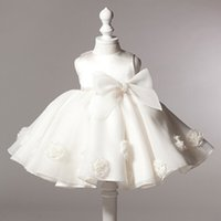 Wholesale Children s Day Dance Show Clothing Summer Sweet Lovely Bowknot Is Sleeveless Round Collar Princess Flower Girl Dress