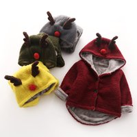 Wholesale Imitation lamb fabric coat Cartoon Casual hoodies decorated with deer horns thickening tops for baby girls boys kids children clothing