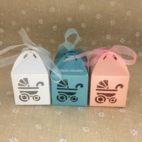 baby carriage favor boxes - 50pcs Laser Cut Baby Carriage Favor Box Bomboniere Gift Candy Boxes Baby Shower Party Decoration colors for chosing