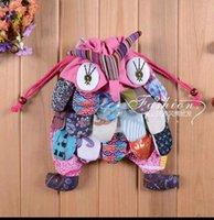 Wholesale Folk style hand stitching owl cotton bag