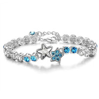 Wholesale 18kt White Gold Plated Austrian Crystal Bracelet Stars Shape Crystal Swarovski Element