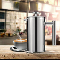 basket cup - Stainless Steel French Press Pot Cafetiere Coffee Cup Tea Filter Thick Wall DHL H17179
