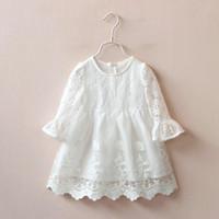 bell western - Sweet Kids Girls Embroidery Lace Dress Fairy Princess Bell Sleeve Ruffles Fall Winter Dress Western Cute Baby Dress