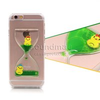 apple interesting - Lively and interesting Sandglass Design Liquid Floating moving Ducks and Dolphins Case for iphone s plus SE S OPP Package