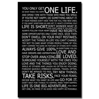 One Panel Digital printing Fashion LOVE YOUR LIFE - Motivational Inspirational Quotes Art Silk Fabric Poster Print 24x36 inches Home Office Decor fruits oil painting