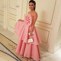big apple classic - 2017 New Arrival Big Flower Organza Pink Evening Dresses Formal Pageant Dresses Middle East Style Saudi Lady Fashion Prom Party Gowns Aramex