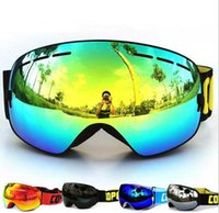 Wholesale New brand professional ski goggles double lens anti fog UV400 men women big ski glasses skiing snowboard Can be stuck with myopia glasses
