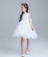 american performance - Retail Children Clothing Girl Dresses Embroidery Lace Party Dress Girl White Performance Princess Dress