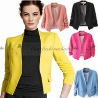 Wholesale New Spring Women s Fashion Korea Candy Color Solid Slim Suit Blazer Tops Ruched Sleeve Thin Coat Jacket Z611