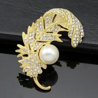 animal crossing websites - 2016 New Free postage factory direct website selling feather brooch pearl brooch diamond jewelry accessories holding flowers