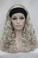 ash blonde pictures - 100 Brand New High Quality Fashion Picture full lace wigs gt gt Super fashion sexy ash blonde wig with headband curly long half wig