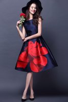 Wholesale Spring summer fashion casual navy blue rose Rome print dress party dress elegant dress office dress navy blue material cotton polyester