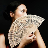Wholesale Fragrant Hand Fan Home Decoration Crafts Bamboo Wooden Fan Summer Accesory Art Folding Carved Hand Fan Wedding Facor Gift