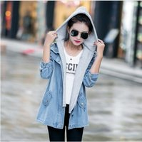 Wholesale Casual Autumn Korean Large Size Turn down Collar Hooded Women Denim Jacket Windbreaker vest Coat Two Set clothing