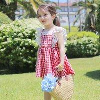 balls check - 2016 South Korean children s skirt dress wear summer Checked vest children s skirt princess dress children dress skirt new trade
