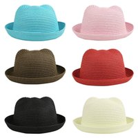 Wholesale Fashion Stingy Brim Hats Cat Ears Hat Boy Girl Baby caps Kids Sun Caps Straw Hat Soild Beach Lovely Girl Sun Hat Toddler Infants cap