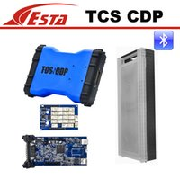 Cheap Wholesale-Cheapest Blue Color Tcs cdp+ Bluetooth 2016.3 software cdp plus plastic suitcase cars Trucks diagnostic tool Free Shipping