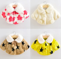 Wholesale 20colors Christmas winter baby girls faux fur coat Fashion Rabbit Fur cloak Cute Flowers star leopard Tops outwear Long sleeve girls clothes