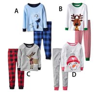 apple pajamas - Boy girl Christmas elk stripe Pajamas sets Free DHL new children Cotton cartoon stripe long Sleeve Pants Suits baby clothes