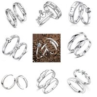 Wholesale Top Grade Silver Couple rings Hot Sale Fashion Crystal Charms Lovers Band Ring adjustable Vintage jewelry Free Ship WH