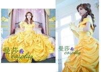 achat en gros de princesse jaune déguisement-Belle et la Bête robe de Noël Belle robe de princesse cosplay princesse pour les costumes gothique robe de fille