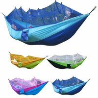 Wholesale 260x130cm Outdoor Waterproof Portable High Strength Parachute Fabric Camping Mosquito Hammock with Mosquito Nets Color