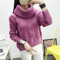 Wholesale Crochet Shirts For Women - 2016 autumn and winter Korean version of the sweater sleeve shirt loose high-necked sweater hedging rabbit female for young adult FS0799