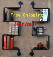 american steel pipe - Iron Pipes Bookshelf American Country to do the Old Industrial Pipe Wall Racks Wrought Iron Bookcase Shelves Z26