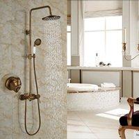 bath shower units - Exposed Antique Brass Shower Faucet Single Lever With Hand Shower Mixer Bath Shower Units