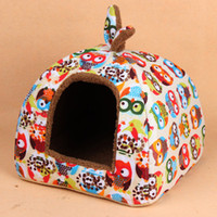 Wholesale Good Quality Soft Plus and Cloth Pet Dog Cat House Foldable Animal Rabbit Pattern Kennels for Small Medium Dogs Pet dog cat beds