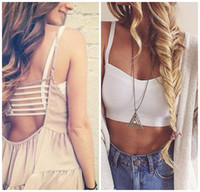 Wholesale Hot Sexy Women Lady Tank Camis Crop Top Stretchy Bandage Spaghetti Straps Bra Hollow Out Backless Camisole Summer Party Base Shirt All Match