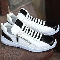 Wholesale Fashion Leather Casual Shoes Sneakers Mens Rocky Skateboard Shoes Gym Sport Shoes Mixed Color With Weaving Bands Zip For Tide Boys Young Man