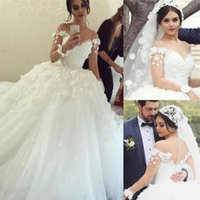 ball love - A staggering autumn winter long ball gown wedding dress lace applique flowers pure love chiffon wedding dress with the back button