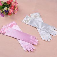 Wholesale 11 Colors Child Finger Bowknot Girls Long Gloves Elsa Princess Girls Cute Fancy Gloves Christmas Birthday Children Kids Gift etst a16