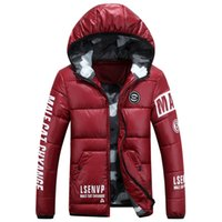 Wholesale Warm Men s Winter Jackets Printed Quilted Padded Cotton Mens Down Hooded Coats Thicken Winter Parkas Male XL PA646