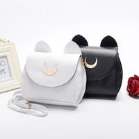 anime cat ears - Anime Sailor Moon Bags Cute Luna Cat Ears Pattern Metal Moon artoon White Black PU Leather Handbag Shoulder Bags