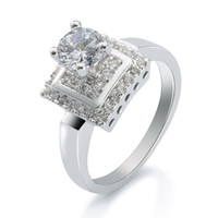 Wholesale Valentine s Day Promotion AAA Quality k White Gold Plaed GP Ring Synthetic Diamond Engagement Ring for Women