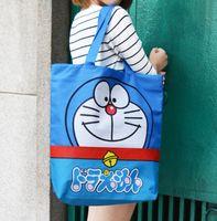 Wholesale New big size school book bag shoulder bag shopping bag B cm eco friendly Doraemon blue travel bag