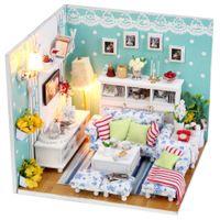 toy cabin prices - 2016 Cute Mini House Dollhouse DIY Model Handmade Craft House Illuminated Warm Sunshine Passphrase 3D Cabin for Kids Home Decor