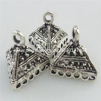 antique silver filigree jewelry - 19448 Vintage Antique Silver Tone Ends Jewelry Alloy Triangle Totem Filigree Dangle Pendant Crafts Findings