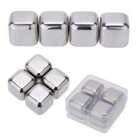 Wholesale 4Pcs Set Reusable Stainless Steel Wine Cooler Set Wine Drinks Cooling Chilling Cube with Plastic Storage Case