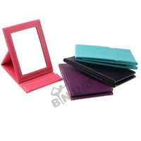 Wholesale Fedex DHL Free New Foldable Makeup Mirrors Fashional PU Leather Travel Mirror Easy To Take Compact Make Up Desktop Tools L40
