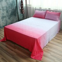 Wholesale Cotton Bed Linen Red Sheet Sets Gradient Flat Sheet Queen Fitted Sheet Twin Case Beddig Sets