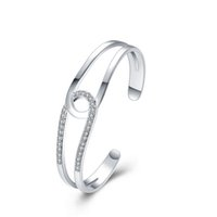 Stainless Steel bangle sets products - New products listed fashion jewelry Silver plated Hollow out cubic zirconia women bangle