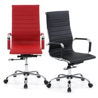 Wholesale IKAYAA Luxury Ergonomic PU Leather Office Executive Chair Stool Adjustable Swivel High Back Computer Task Office Furniture US STOCK H16676