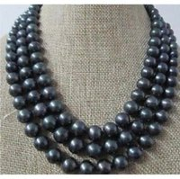 Wholesale 3 ROW MM TAHITIAN PEACOCK BLACK PEARL NECKLACE K YELLOW GOLD CLASP