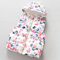 Wholesale Cardigan Winter Toddler Kids Floral Print Vests Waistcoat hooded Vest Sleeveless Cotton Padded Overcoat Baby Boys Girls Coat