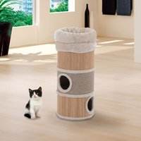 Wholesale 21 quot Cat Tree Tier Round Kitty Bed Furniture Scratching Post Condo House Beige