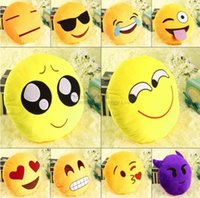 Wholesale pretty Soft cute Emoji Smile Emoticon Pretty Round Cushion Pillow Stuffed Plush Toy good quality low price